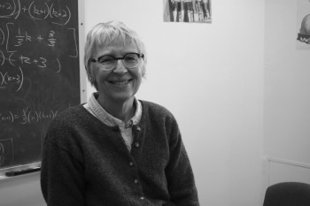 Professor Patricia Oakley happy to be back in a classroom