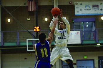 Stefon Luckey, senior, puts up a shot against a defender