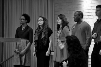 Davonne Kramer, Jeremy Pope, along with seniors Elizabeth Woodward, Lizzy Diaz, and Isaac Fast perform for the 2014 MLK student weekend convocation.