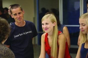 Sarah and Lydia Hartman-Keiser enjoy Scholar Day with their father