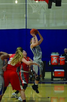 Sophie Sears, a sophomore, takes a shot during Saturday's game