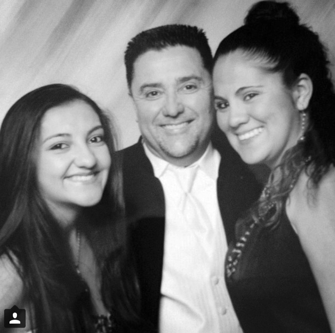Frances Fonseca poses for a picture with her father Enrique and her sister Ashley