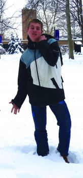 "Sophomore David Jantz reimagines Michaelangelo's ""David,"" more appropriately dressed for a Goshen winter."