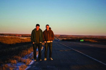 Senior communication majors, Benson Hostetter and Jared Zook pause to take a photo in Kansas on their drive to Los Angeles, California.