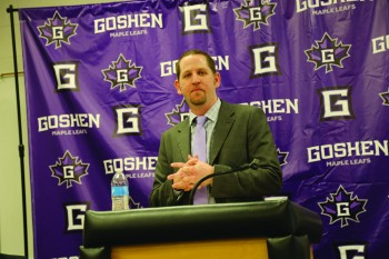 Josh Gleason, Goshen College's new athletic director, speaks at the Wednesday press release.