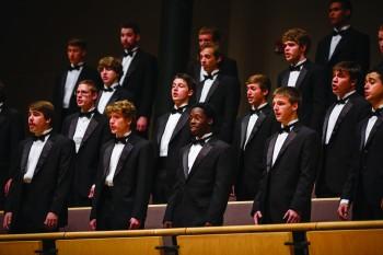 Members of the Goshen College Men's chorus perform during last semester's  Festival of Carols