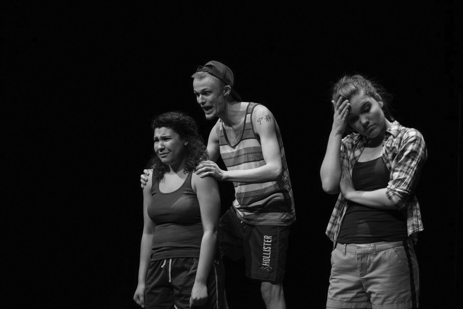 Christina Hofer, Ally Medellin and James Lang rehearse in Umble Center