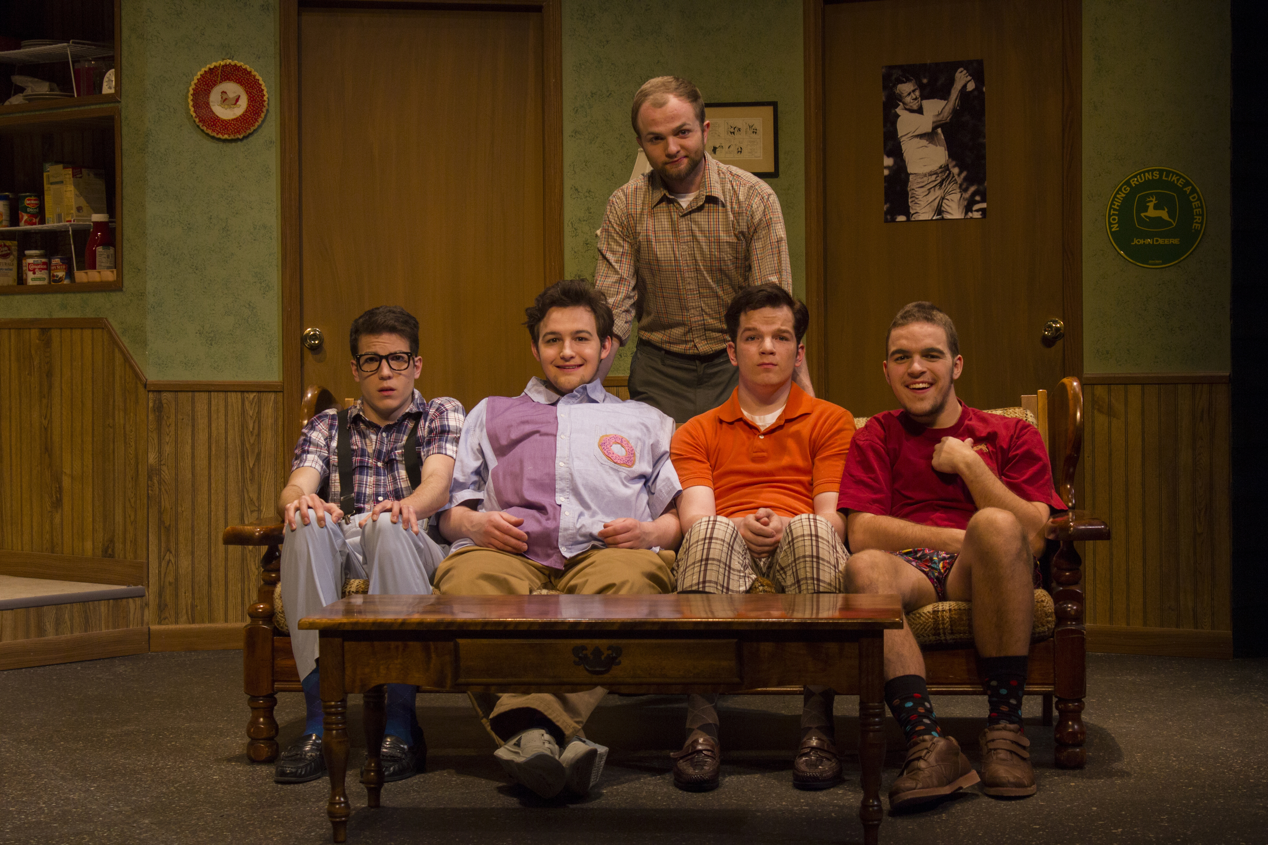 Five student actors pose for a picture during a rehearsal in Umble Center