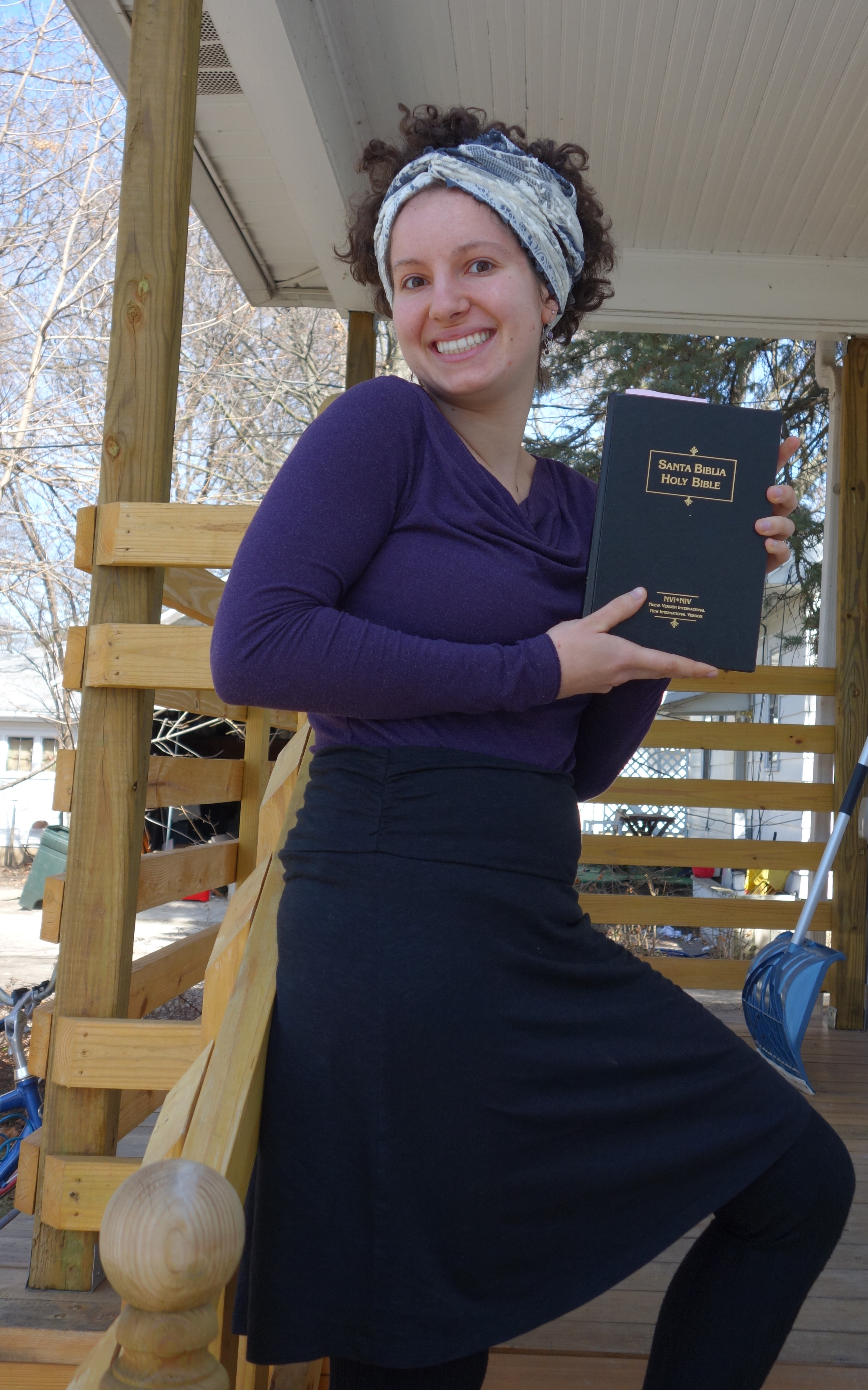 Maria Jantz poses for a picture with a Bible