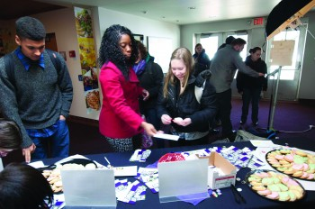Students celebrate those who donate to Goshen College this week.