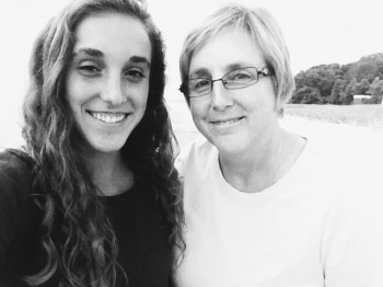 Maddie Birky, a sophomore stands with her mother, Beth Martin Birky, who is a professor of English and Women's studies at Goshen College.