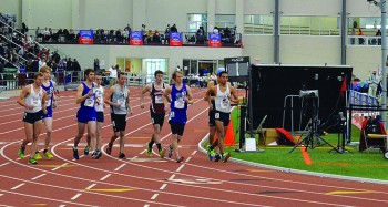 Seniors Mitchell Brickson (Left), Kolton Nay (Center) and Brad Sandlin (Right) charge off of the starting line during their race at the NAIA Indoor Nationals.