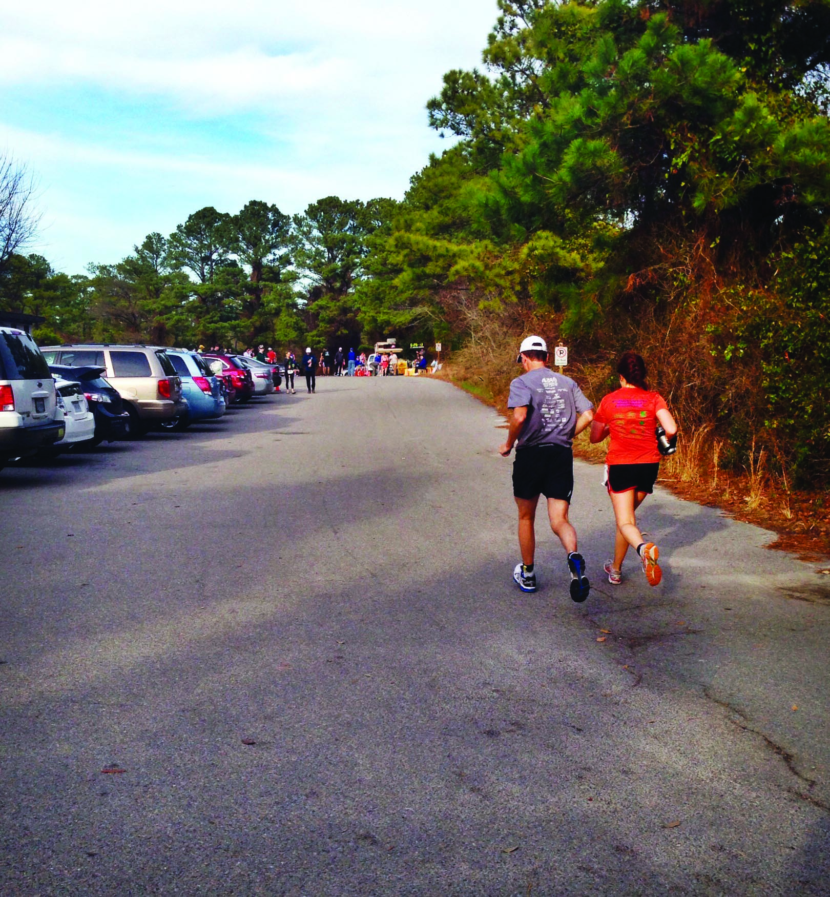 Smucker father and daughter run together