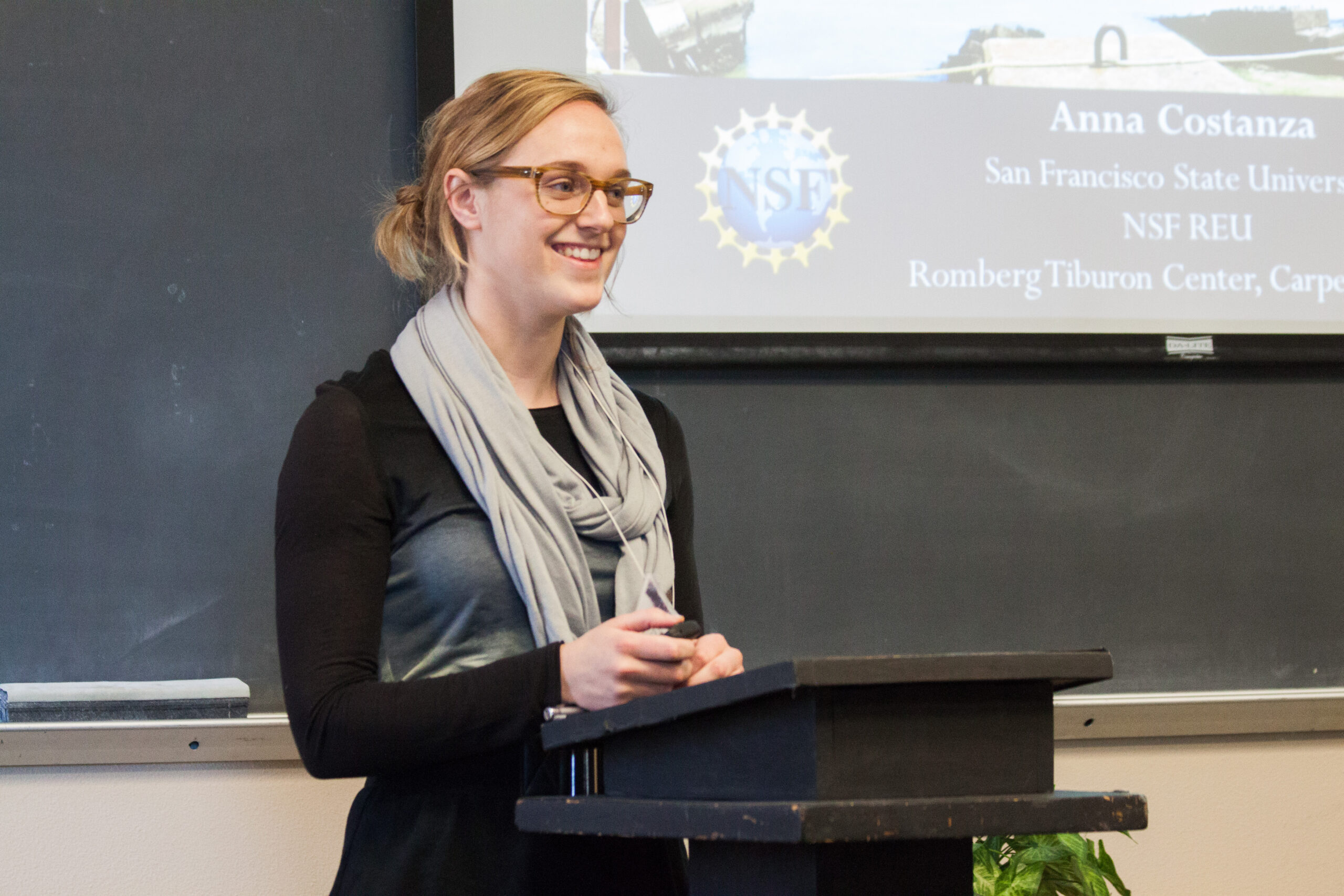 Anna Costanza, a senior, delivers her presentation at the student research symposium this past weekend.