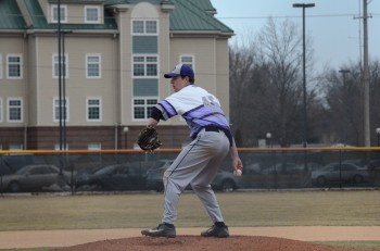 Sophomore Brad Lantz prepares to deliver a pitch during Tuesday's double header against Robert Morris College.