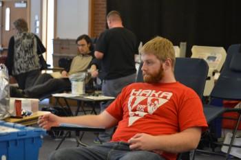 Stuart Kurtz, junior, prepares to give blood on Tuesday.