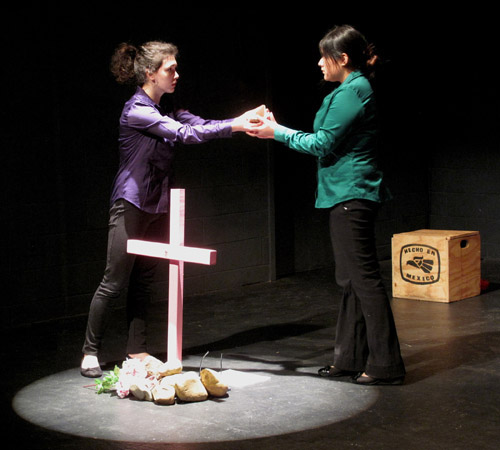 """Students from the College of Wooster perform a scene from the """"Women of Ciudad Juárez"""""""
