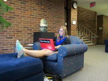 Chelsea Risser, a first year, spends some time studying in the library.