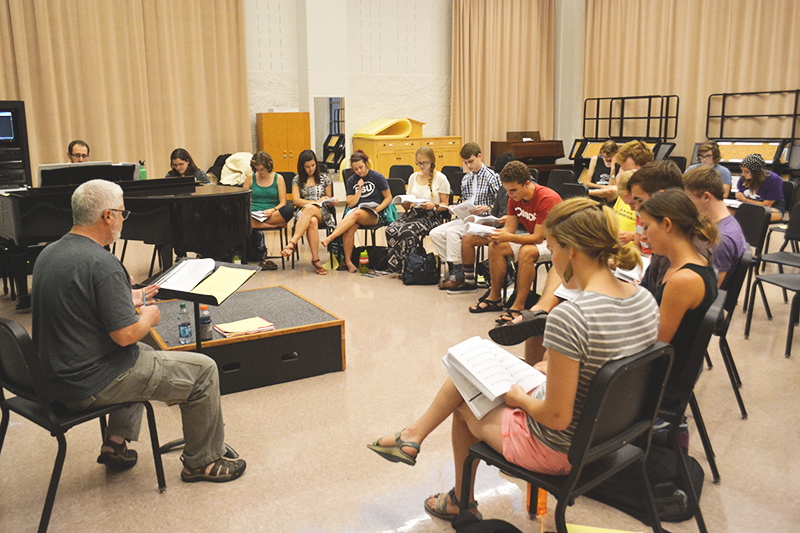 The cast of Godspell rehearses in the Music Center choir room