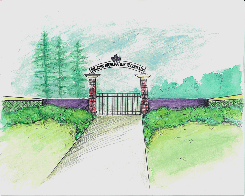 A drawing of the proposed entrance to the Dr. John Ingold Sports Complex.  Photo contributed by Go Leafs.