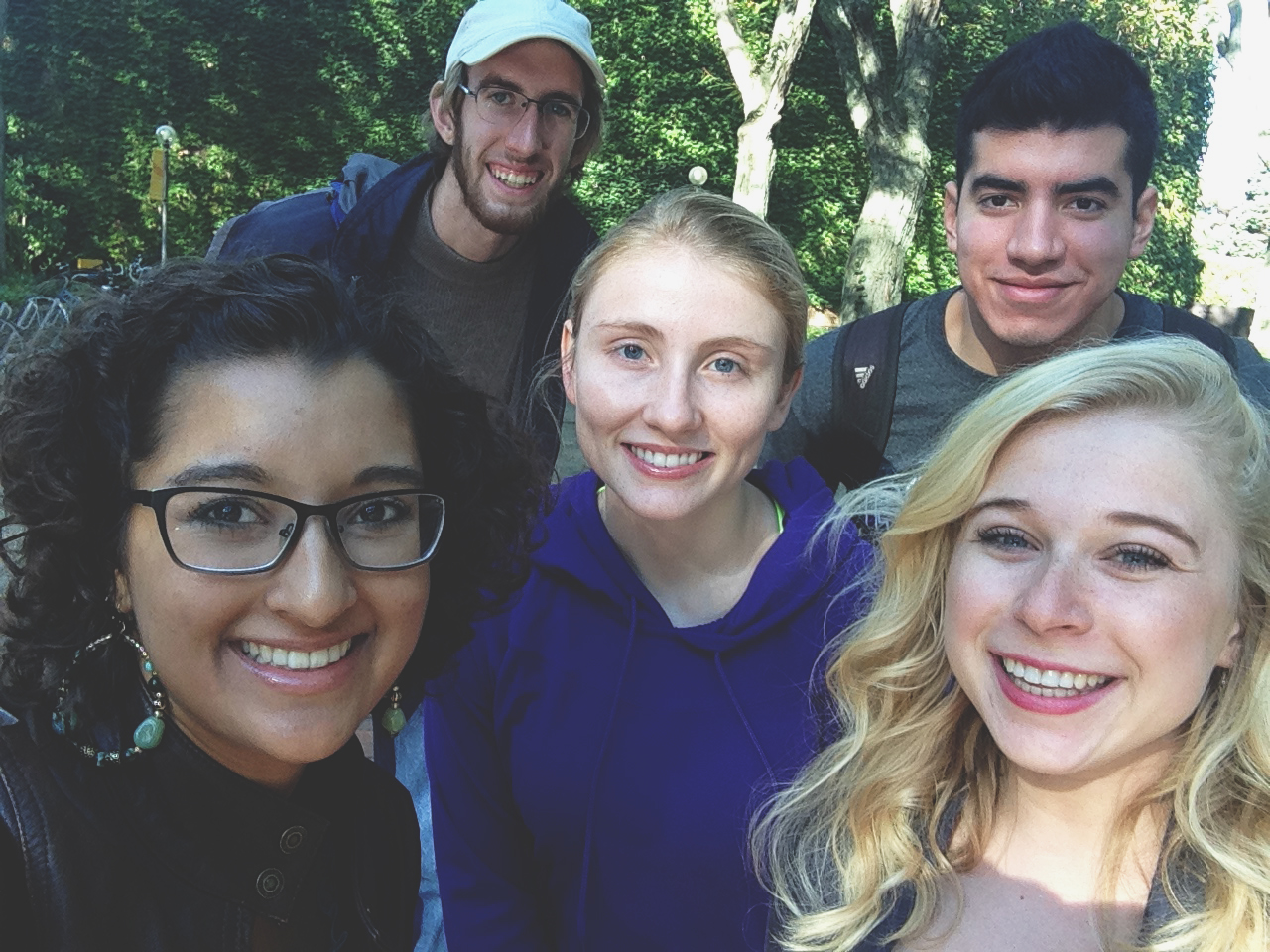 Peter Meyer Reimer, Valentin Calvillo, Danielle Plank, Halle Steingass and Reena Ramos are joining Student Senate this semester.  Photo by Halle Steingass.