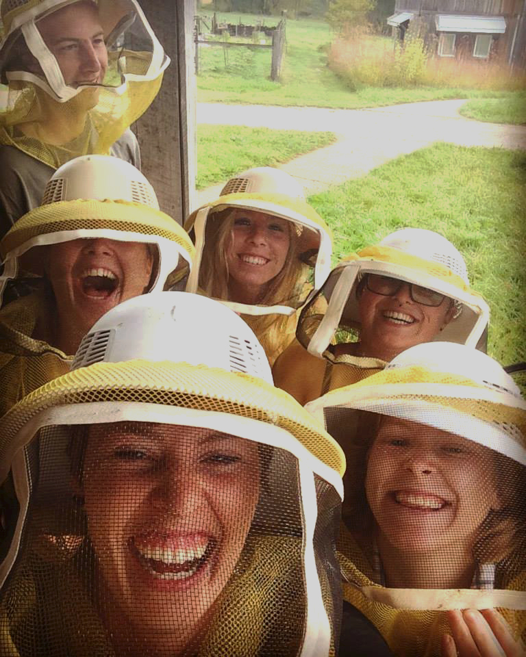 SLS students with beekeeper suits on