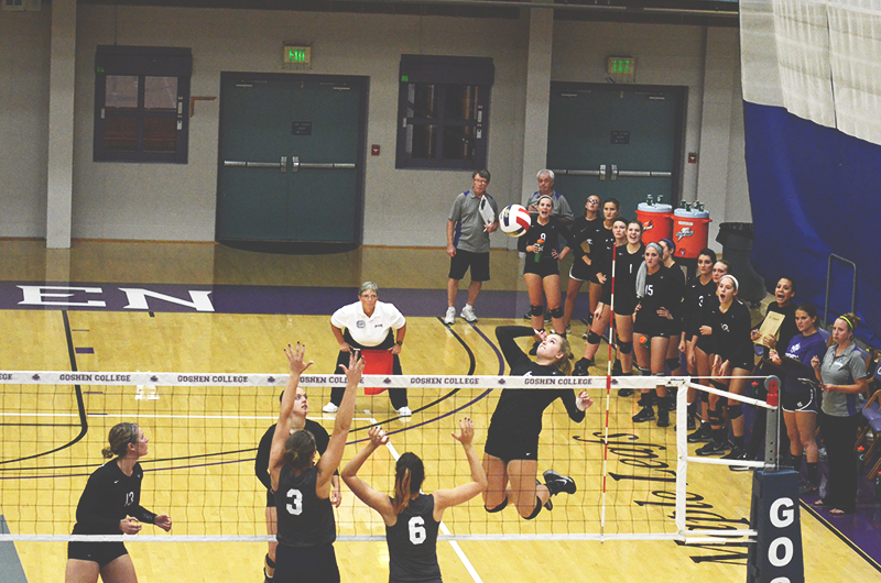 A Goshen women's volleyball player prepares to spike the ball as her team cheers in the background