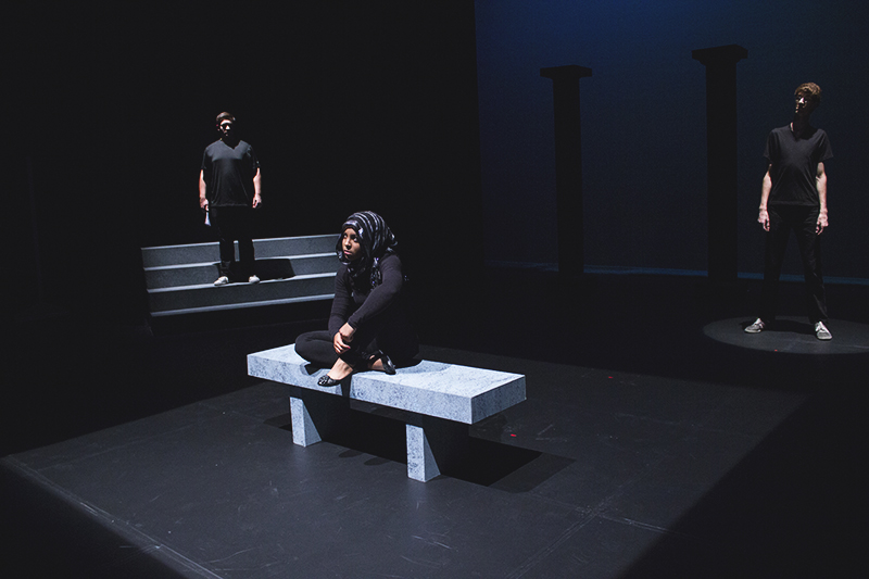 """Jonah Yoder and A'Sean Street perform in """"Bombers"""" this weekend. Photo by Hannah Sauder."""