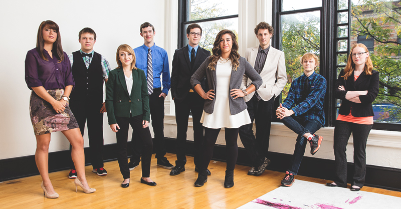 From left: Maria Bischoff, Austin Reith, Riley Mills, Tim Litwiller, Jesse Bontrager, Karina Flores, David Leaman-Miller, James Lang, and Rachel Buckley. Photo contributed by David Kendall.