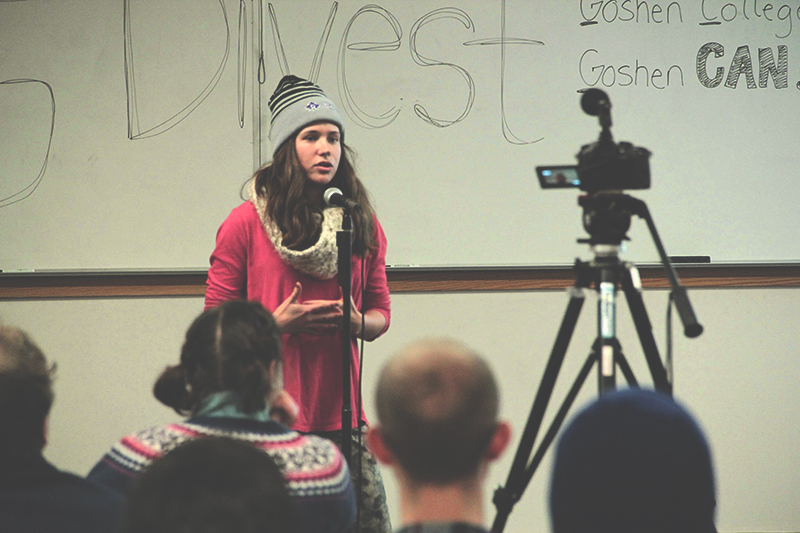 Hannah Barg, currently a senior, during a GC Divest meeting from last year. Photo contributed by David Leaman-Miller.