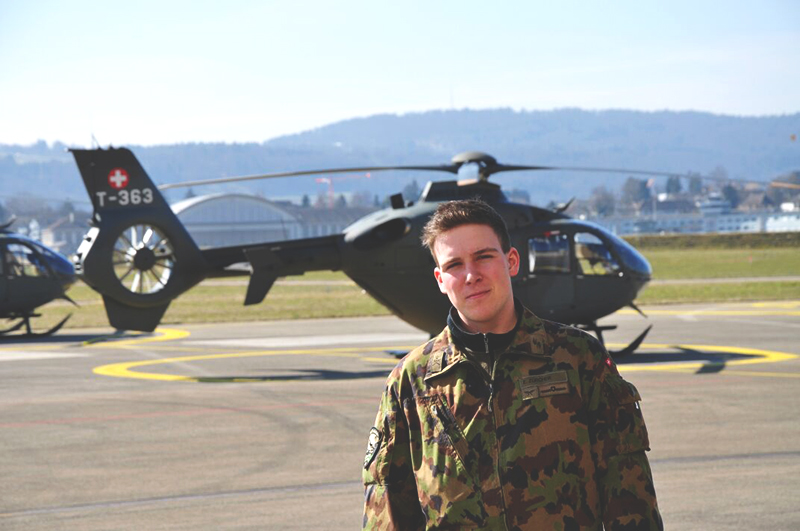 First-year Eric Zurcher spent the last year serving in the Swiss Air Force. Photo contributed by Eric Zurcher.