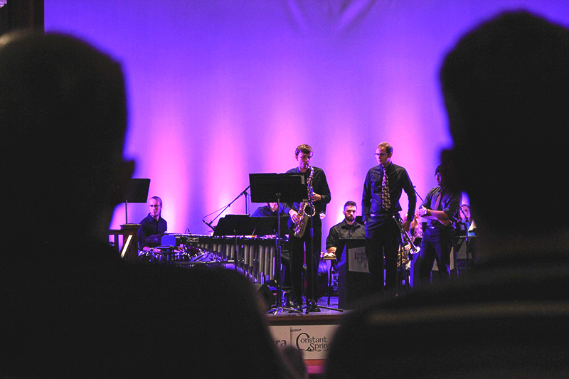 Jacob Penner plays a solo during the Lavender Jazz performance at the Homecoming First Friday. Photo by Hannah Sauder.