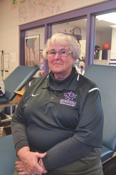 """Linda Kaminskis, affectionately known as """"K,"""" is retiring after 11 years at Goshen as the head athletic trainer.  Photo by Marissa Hochstetler."""