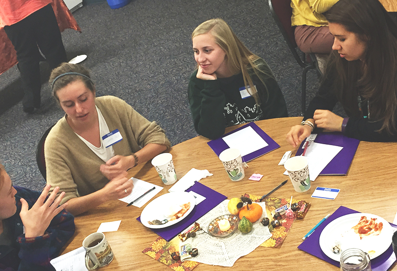 Sadie Gustafson-Zook, Lydia Hartman-Keiser, and Gabby Castanon participated in this weekend's Sister Care workshop. Photo contributed by Maddie Birky.