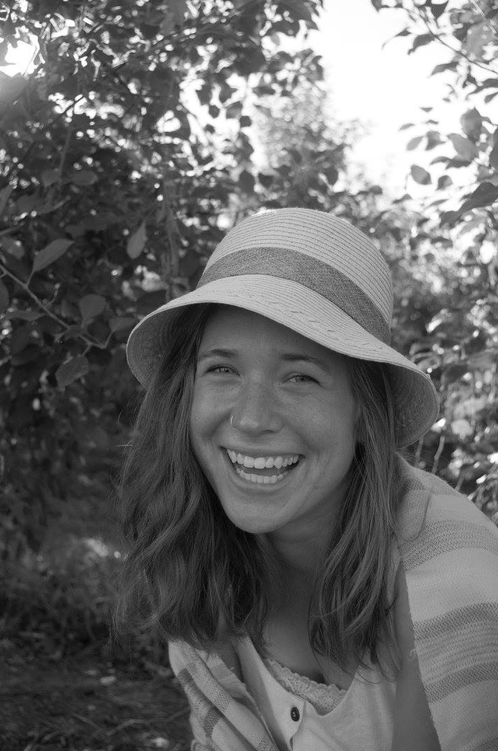 Black and white image of Hannah Barg laughing