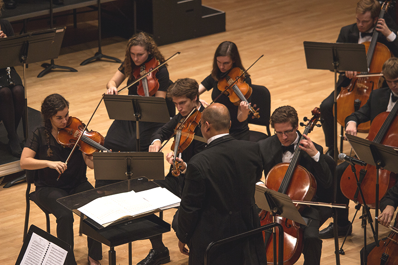 The Goshen College Symphony Orchestra performs on the Sauder Concert Hall stage