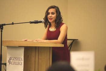 Janeth Vela, a junior, was one of the students invited to speak at the dinner. Photo by Hannah Sauder.