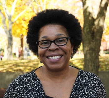 Regina Shands Stoltzfus discusses her view of diversity on Goshen College's campus. Photo by Sadie Gustafson-Zook.