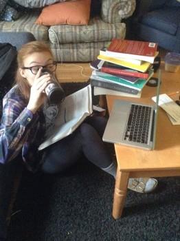 Ms. Conrad demonstrates proper binge drinking technique. Photo by Hayley Mann.