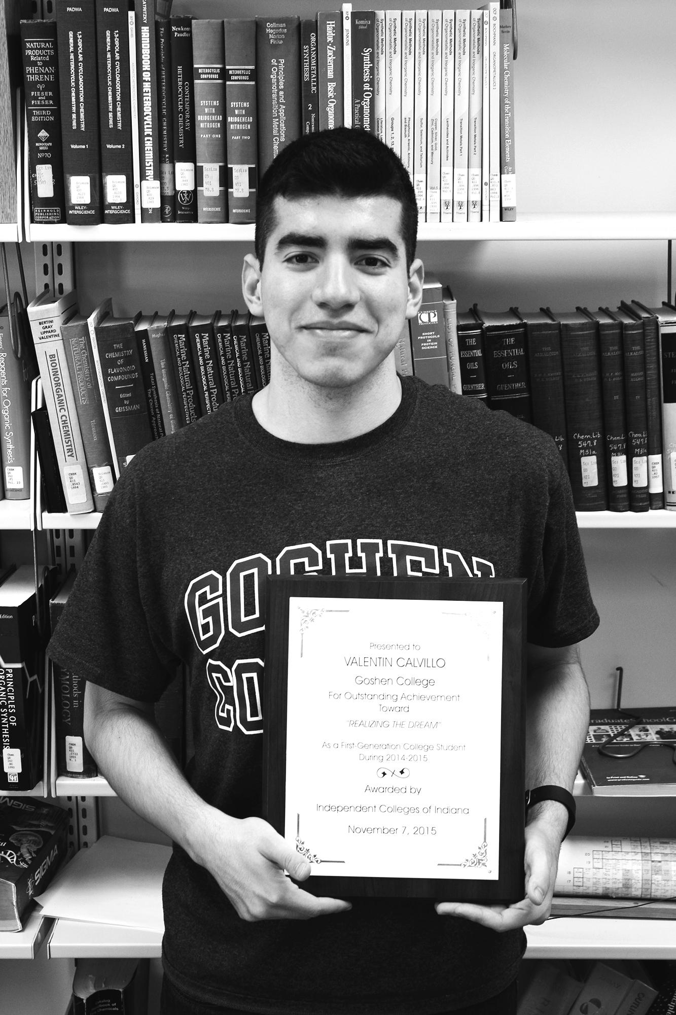 Valentin Calvillo poses with certificate