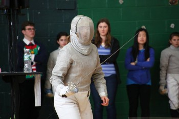 Anja Kenagy, a first-year, has been fencing for four years and has competed both in the summer national tournament and the Junior Olympics. Photo contributed by Anja Kenagy.