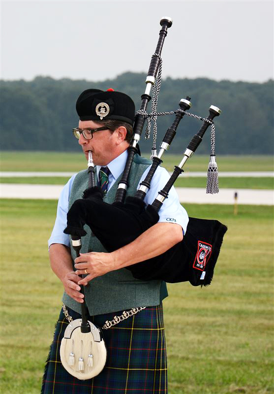 Todd Yoder playing bagpipes