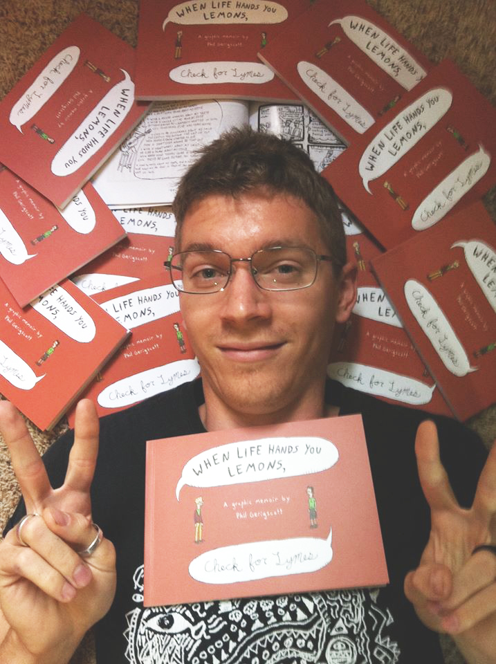 Phil with copies of his novel