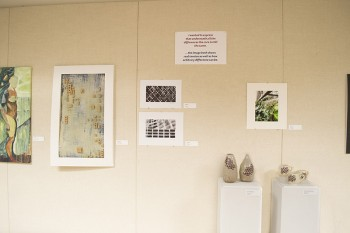 Student art exhibit features multi-media and ceramic pieces. Photo by Maria Bischoff
