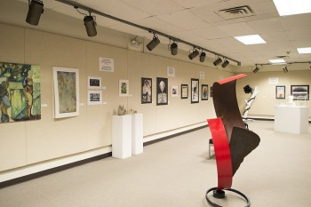 The North and South student art exhibit will remain in the Good Library Basement Gallery until March 16. Photo by Maria Bischoff