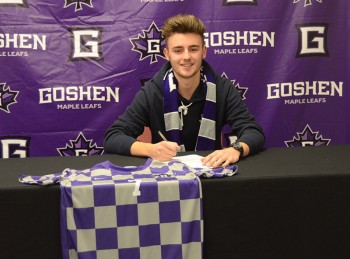 Ollie Smith is a first year from Thirsk, England. Ollie transferred to Goshen at the start of this semester and is on the men's soccer team. Photo by Maria Bischoff