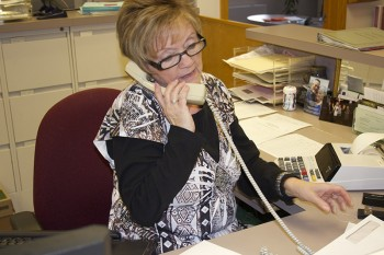 Shirley Shriner, administrative assistant, will retire at the end of May. Photo by Frances Fonseca