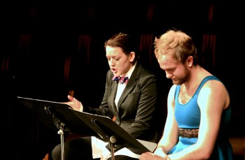 Lea Ramer and Martin  Flowers do a dramatic reading on Friday night. Photo contributed by Maddie Gerig