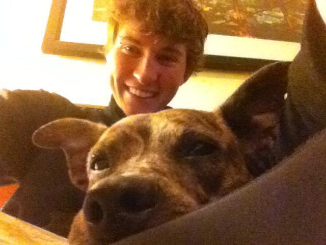 Selfie of Natalie Thorne and her dog Tilly