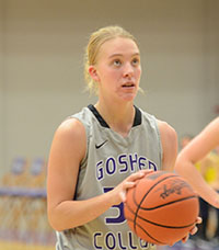 Sophie Sears, a third year, prepares for a free-throw this past season where she has helped her team sport a winning record. Photo by Maria Bischoff